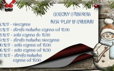 Godziny otwarcia Inca Play w grudniu